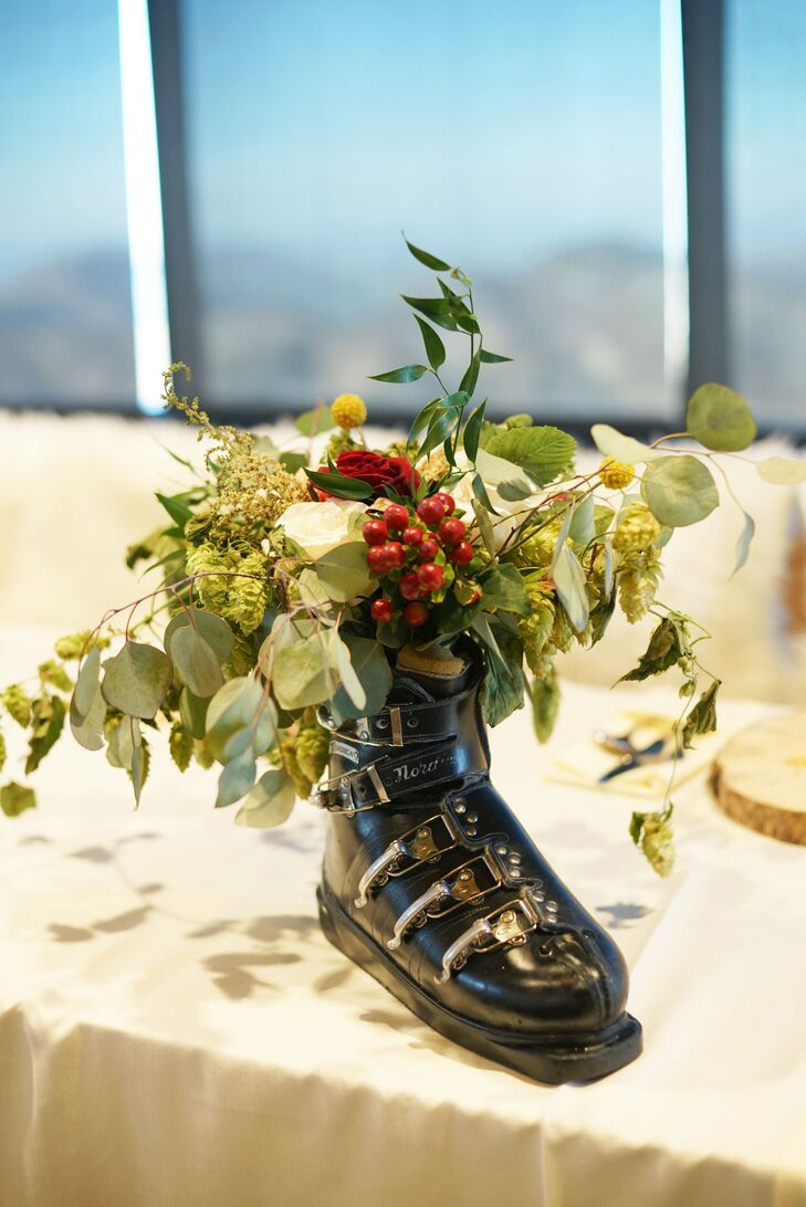 Ski Boot Centerpiece with Greenery