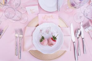Pink and Gold Place Settings, Sweet Wedding Favors