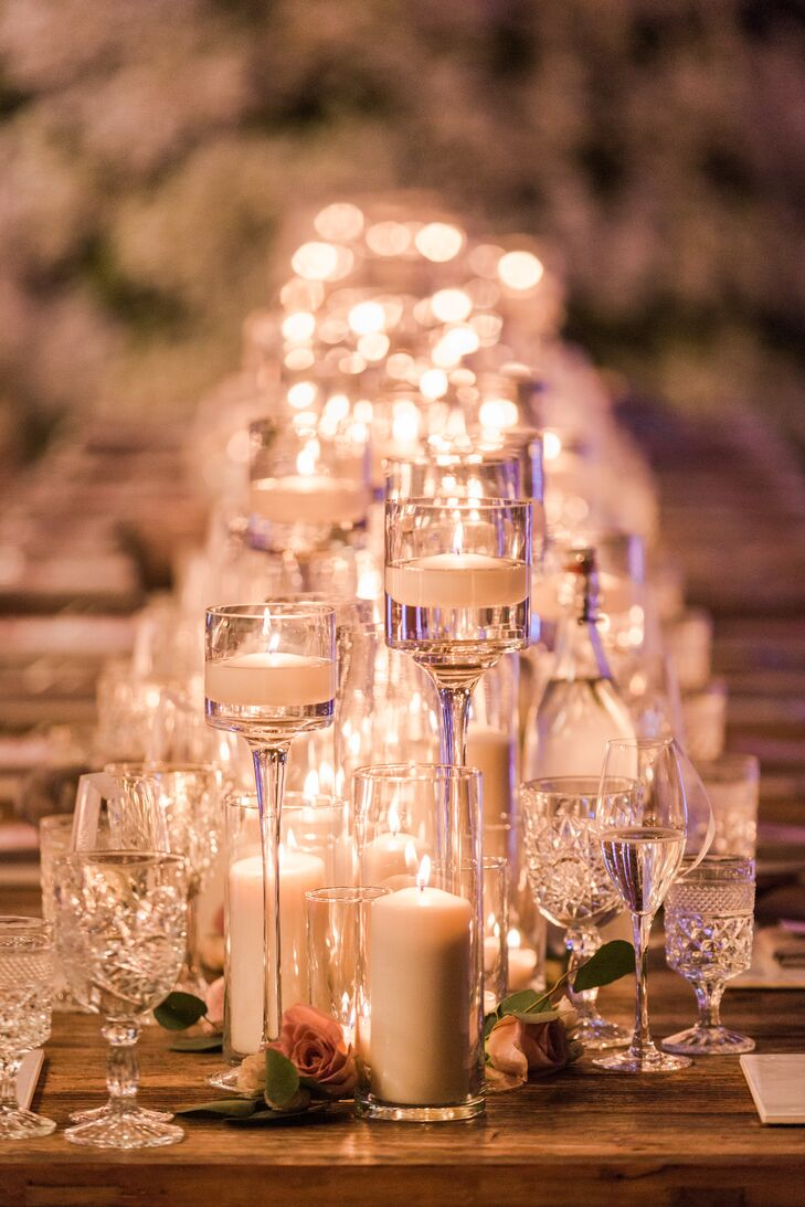 Romantic Candle-Lit Reception with Glass Décor