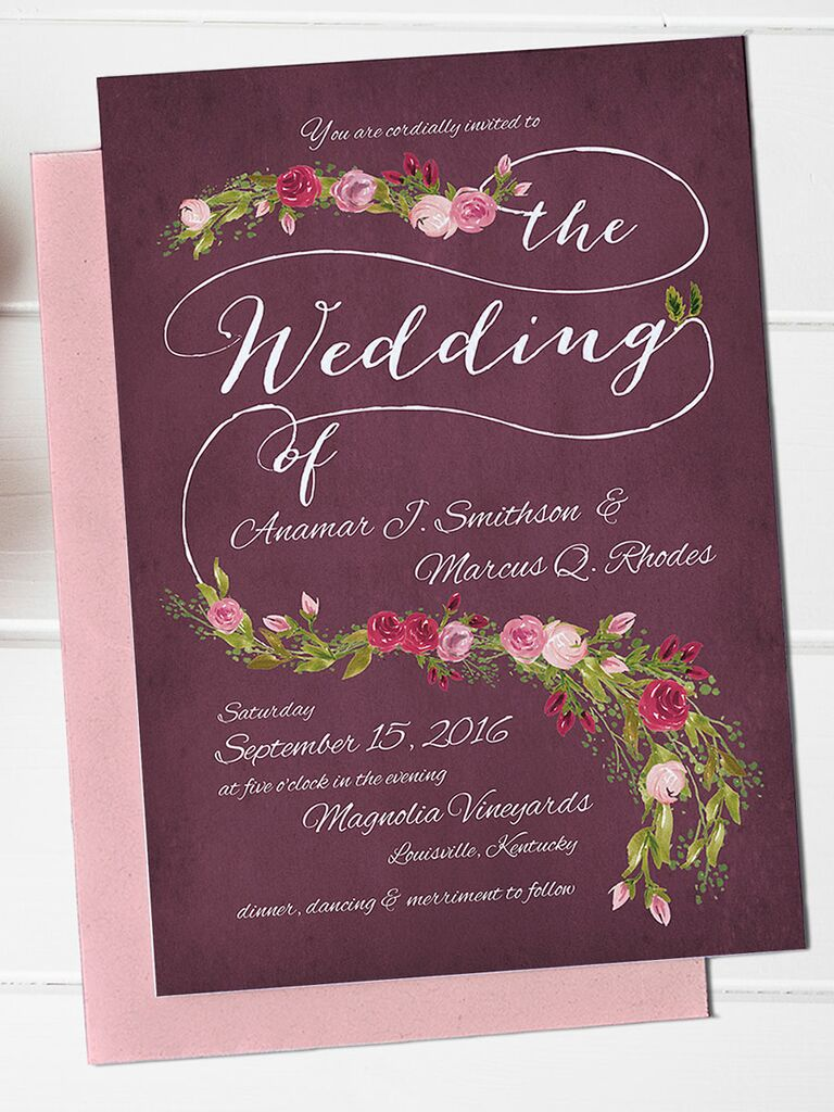 Purple Fl Wedding Invitation Printable Template