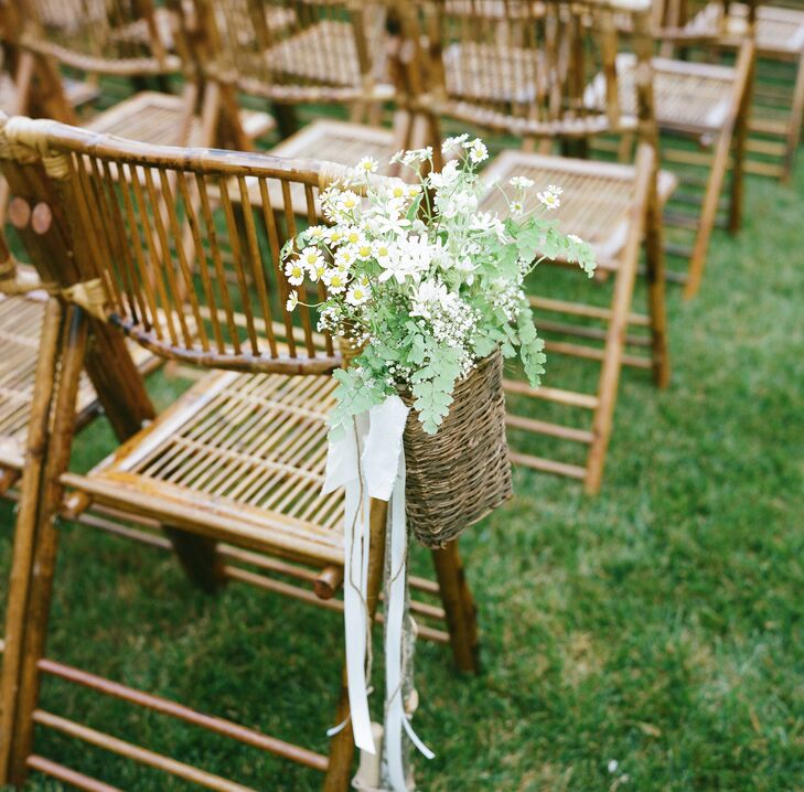 White Wildflower Wedding Ceremony Aisle Decor