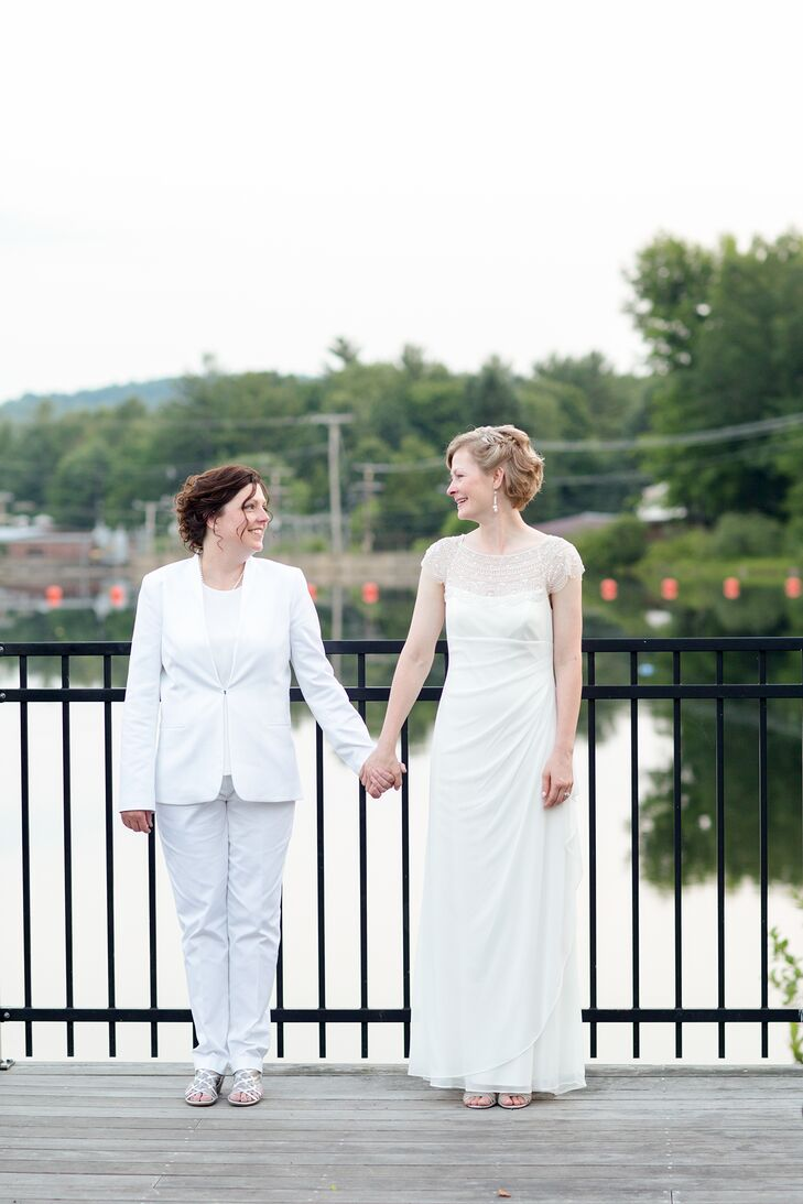 Heidi wore a cap sleeve floor length gown ruched at the sides and back while Paula wore a white Tahari suit and BCBG shell.