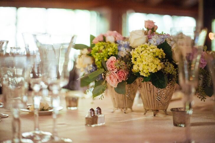 Pink Rose and Green Hydrangea Centerpieces