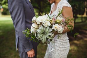 Eclectic Bouquet with Succulents, Roses and Protea