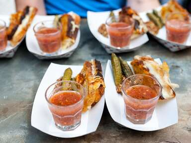 Mini grilled cheese appetizer with gazpacho shooters