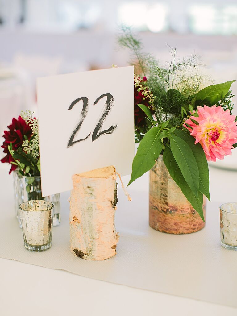 DIY wedding reception table numbers with natural birchwood