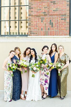 Different Bridesmaid Dresses in Gold, Blue and Pastels