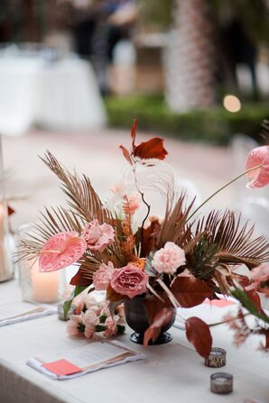 Vintage Pink Centerpieces with Roses, Anthurium and Ferns