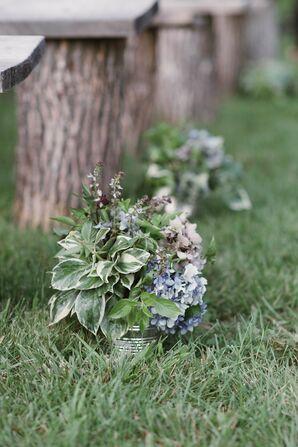 Blue Hydrangea and Wildflower Ceremony Arrangements