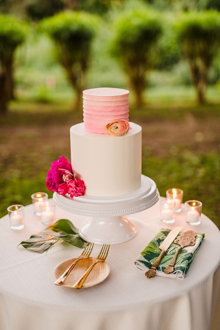 Pink and White Wedding Cake with Flowers