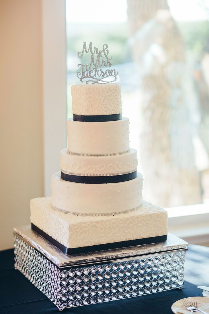 Black-and-White Cake with Sequined Cake Topper and Sparkly Cake Stand