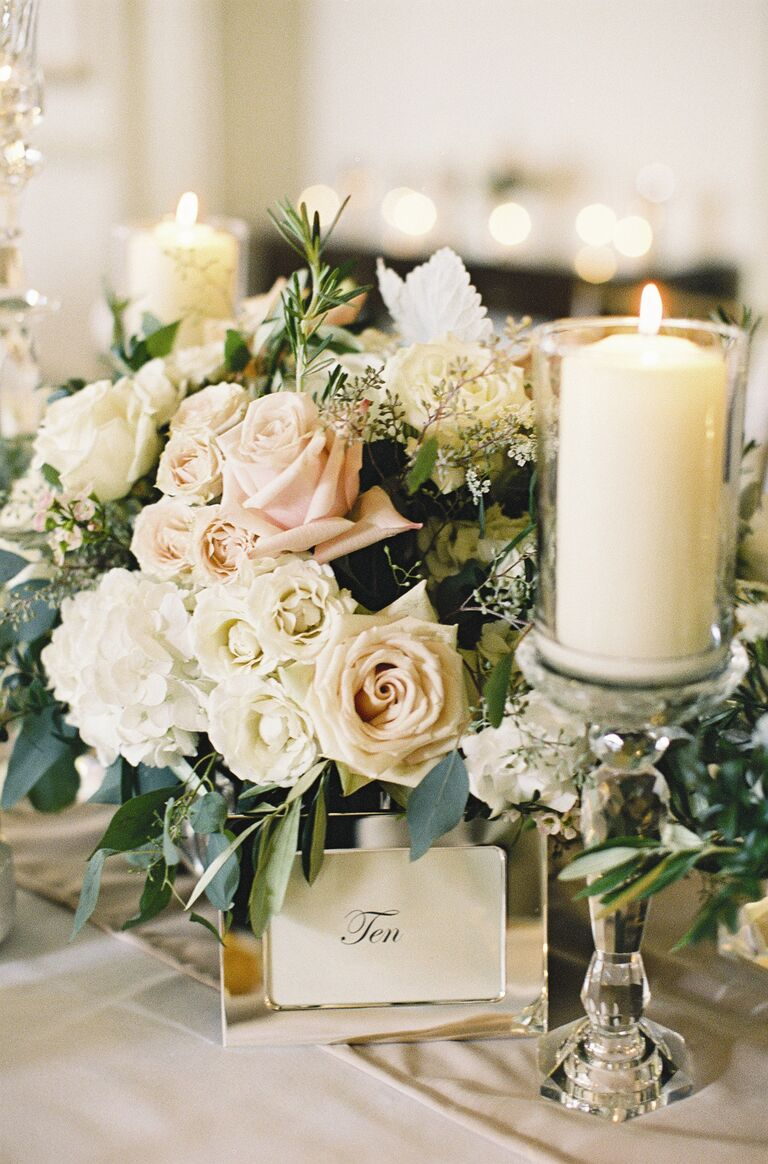 Blush rose and white hydrangea low reception centerpiece