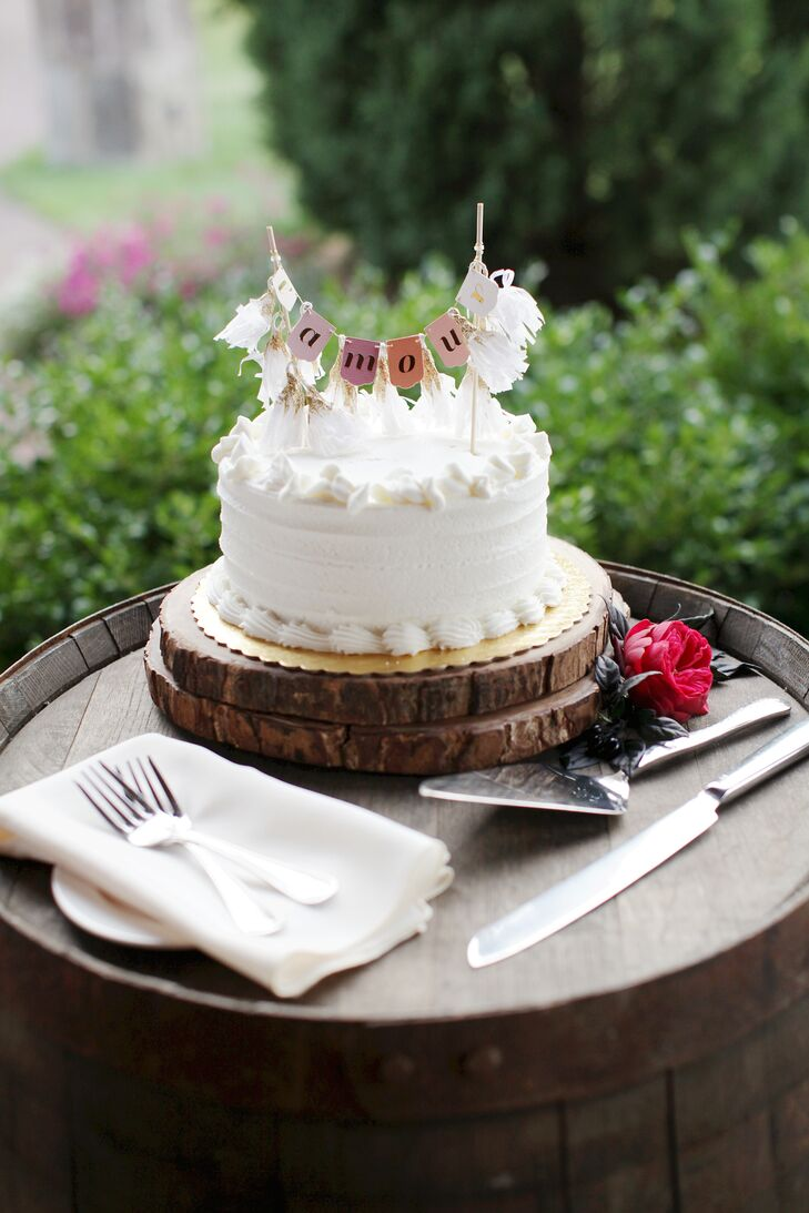Homemade Wedding Cake with Bunting Topper and Wooden Base