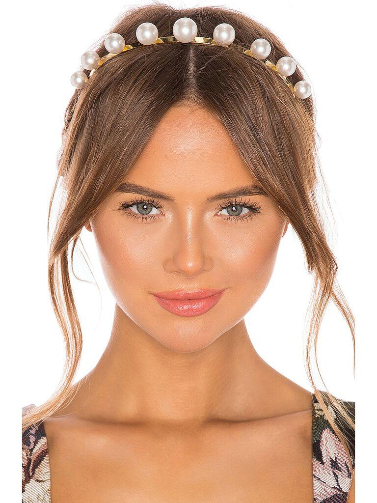 Pearl crown bridal headband
