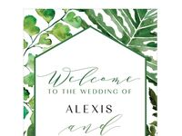 Greenery wedding welcome sign poster