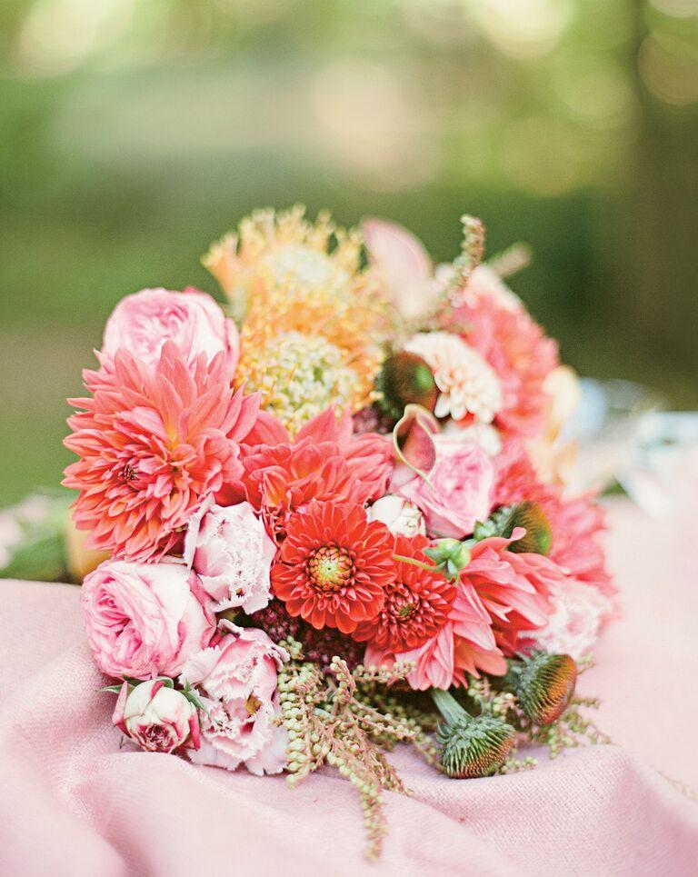 pink wedding bouquet with dahlias and garden spray roses