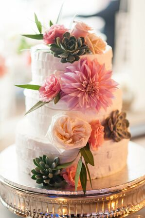 White Buttercream Cake With Cascading Dahlias