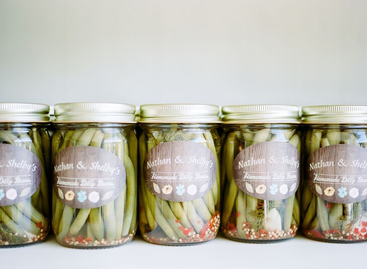 Favors were homemade canned dilly beans in canning jars, complete with custom labels.