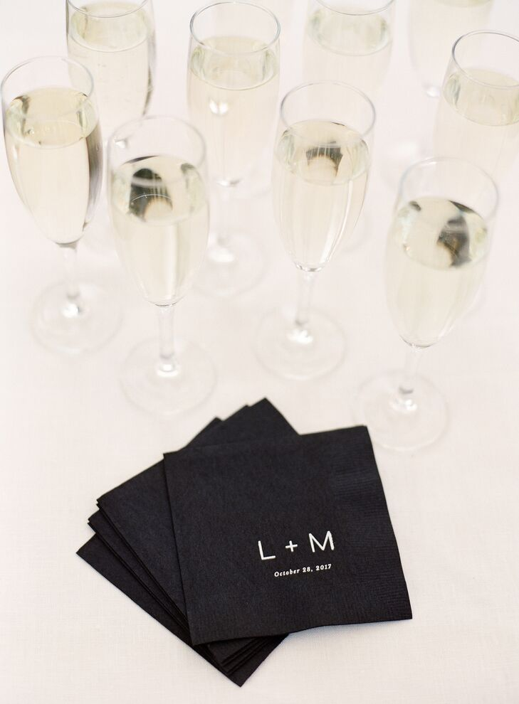 Black and White Monogrammed Cocktail Napkins