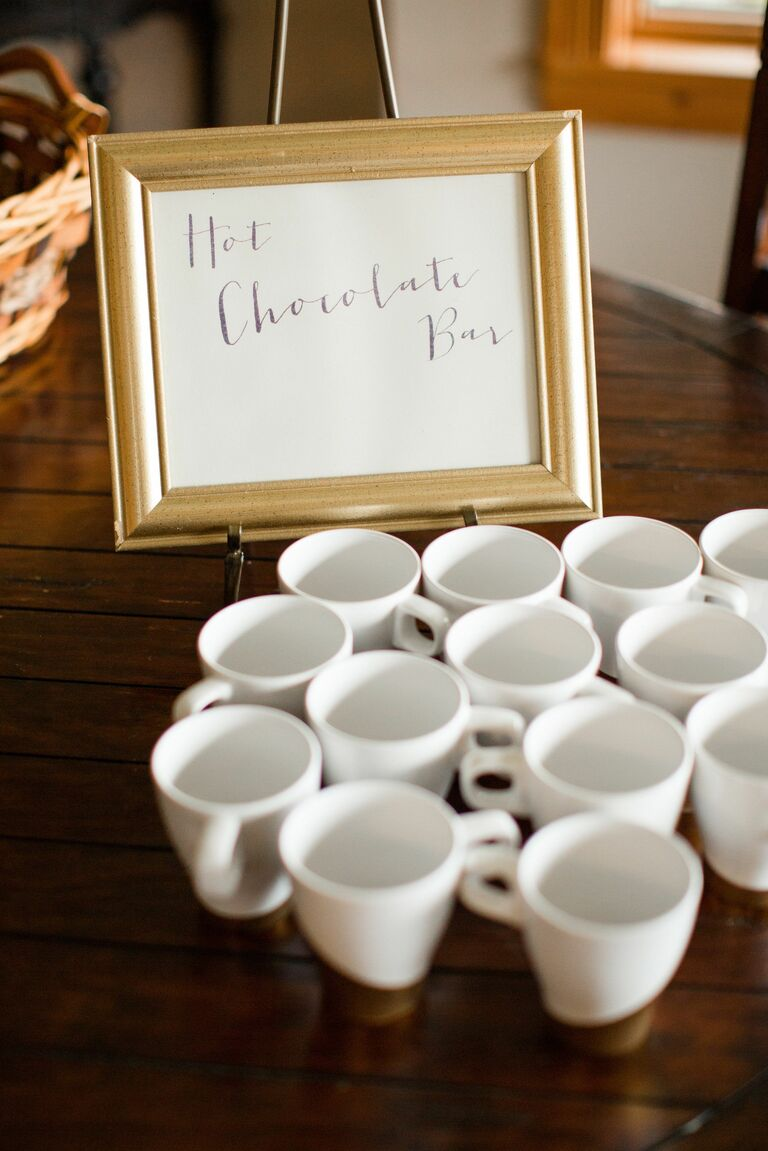 Hot chocolate bar winter wedding trend