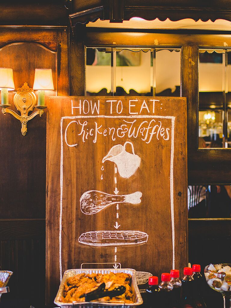 Southern wedding food idea with a chicken and waffles food station