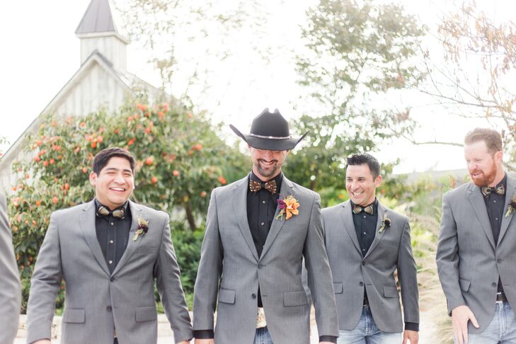 Gray Suit Jackets and Feather Bow Ties