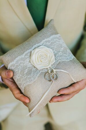 Khaki and Lace Ring Pillow