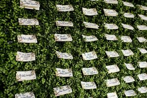 Escort Card Display on a Boxwood Backdrop