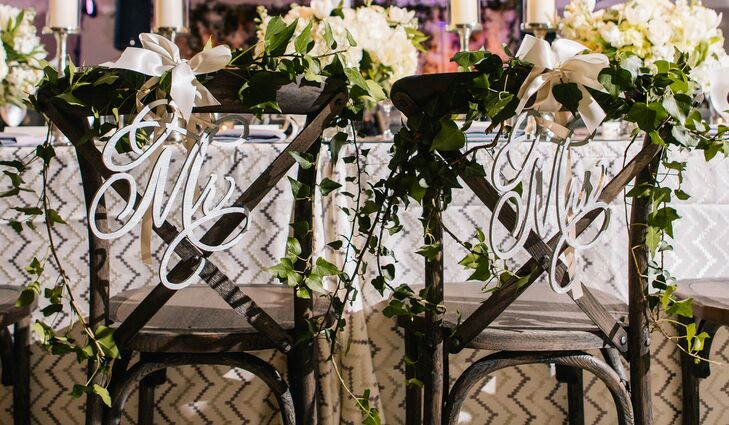 Details from the reception included these calligraphy signs for the bride and groom.
