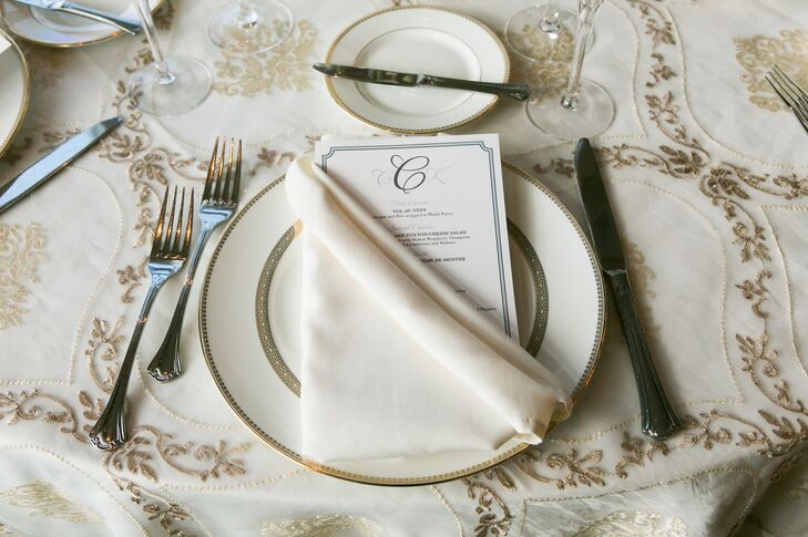 Traditional Monogrammed Menu Card