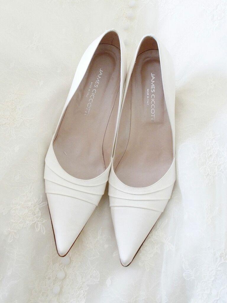 White satin wedding pumps for an elegant wedding