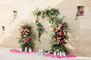 Flower Wall Installation with Pink and Orange Flowers