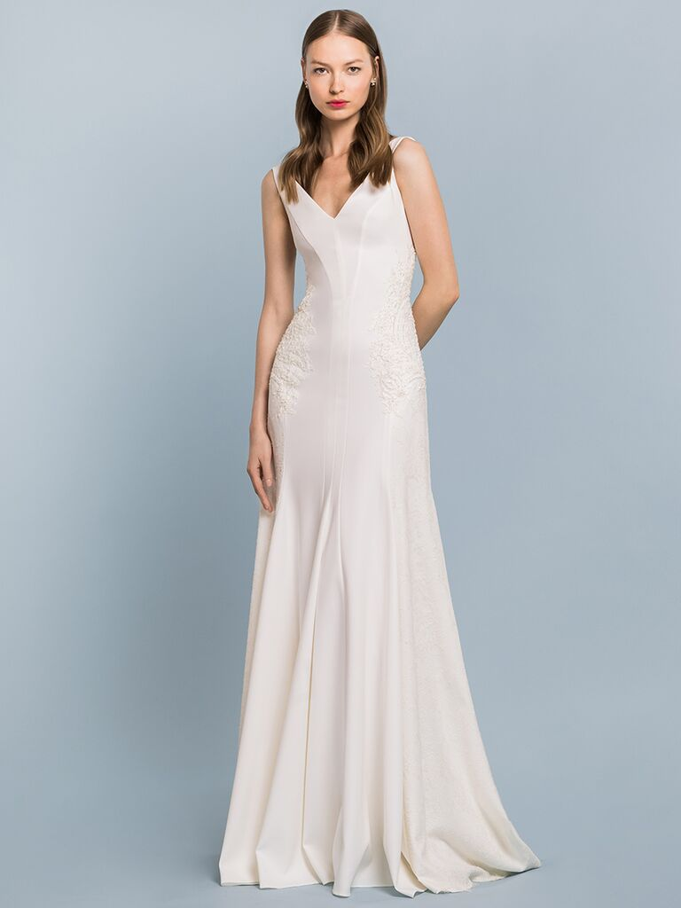 EDEM Demi Couture sheath wedding dress with V-neck and lace midsection detail