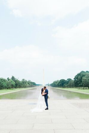Wedding Photos in Front of the Washington Monument in Washington, D.C.