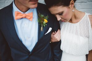 Orange Bow Tie with Thistle Boutonniere