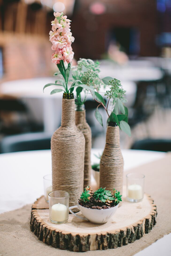 Twine-Covered Bottle Centerpiece