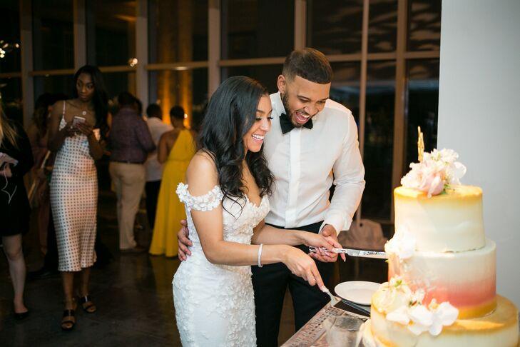 Elegant Cake Cutting of Ombré Wedding Cake