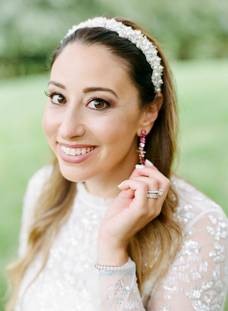 Bride Wearing Headband and Earrings for Wedding in Potomac, Maryland