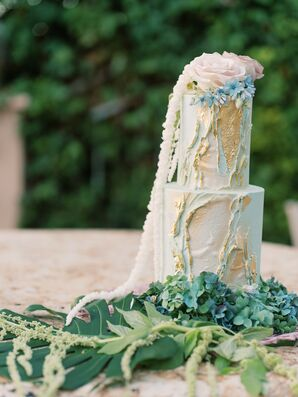 Blue Cake at Beach Wedding in San Diego