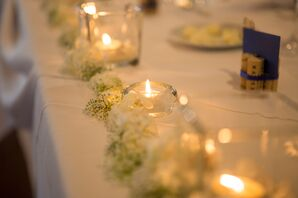 White Hydrangea and Candle Light Table Decor