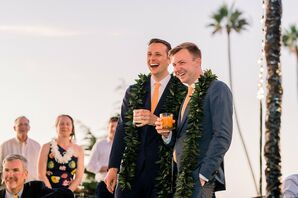 Modern, Tropical Toast with Couple in Greenery Leis