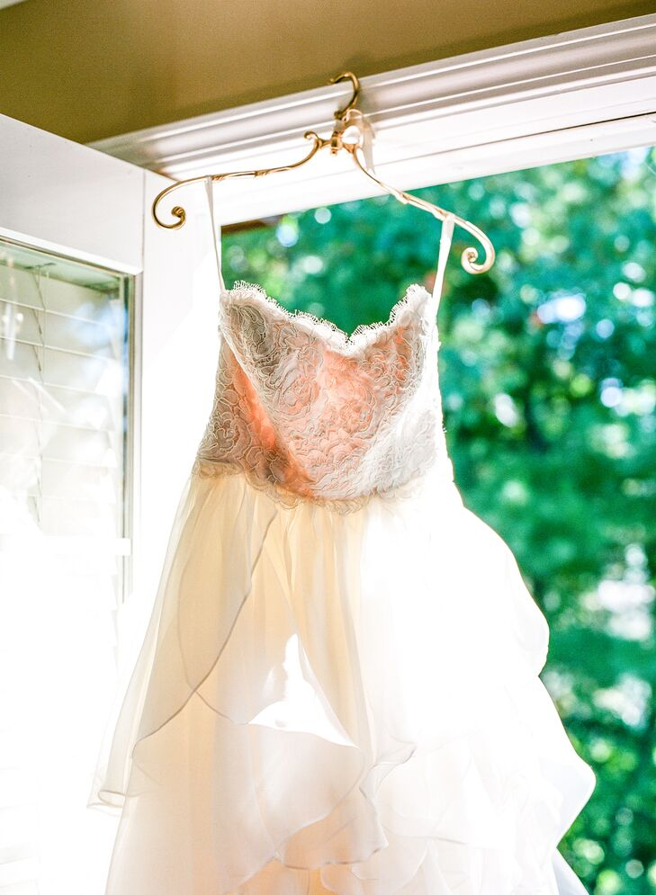 To complete her romantic look and complement her gown's intricate lace bodice, Samantha's mom made a silk ribbon to tie around her waist.