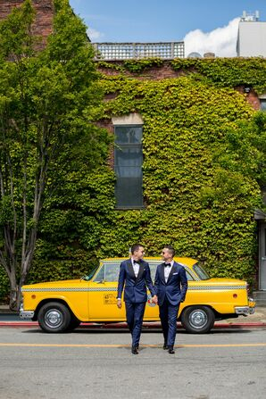 Taxi Wedding Portrait with Same-Sex Grooms in New York