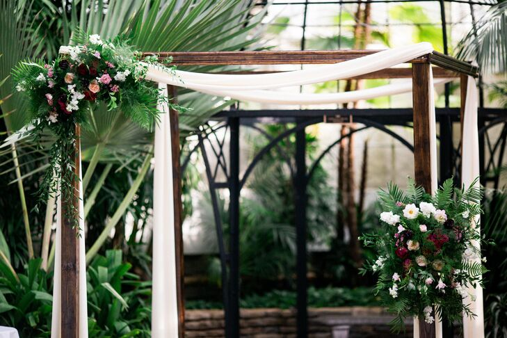 Wood Mandap with Linens and Flowers