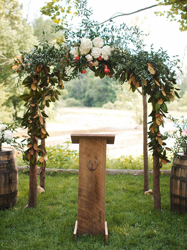 Outdoor Wood Arch For A Rustic Wedding