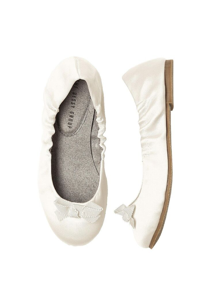 Simple white flower girl shoes