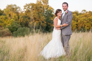 Ivory Lace Fit-and-Flare Wedding With Cap Sleeves