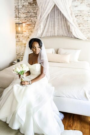 African-American Bride in Glamorous White Gown