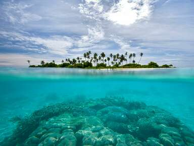 Maldives, Island on sunny day