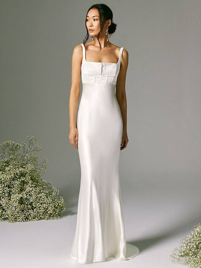 Savannah Miller satin slip dress with lace corseted bodice